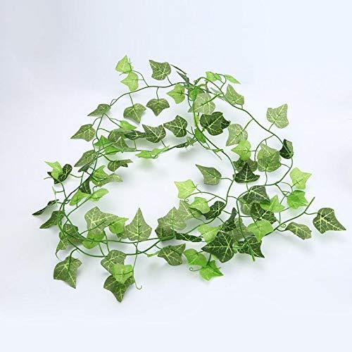 aolongwl Planta Artificial 2.5m Decoración del Hogar Hiedra Artificial Hojas Guirnalda Plantas Vid Flores Falsas Enredadera Hiedra Verde Corona / 10pcs