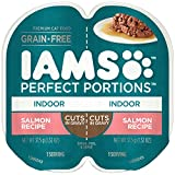 IAMS PERFECT PORTIONS Adult Indoor Grain Free Wet Cat Food Cuts in Gravy Salmon Recipe, (24) 2.6 oz. Twin-Pack Trays