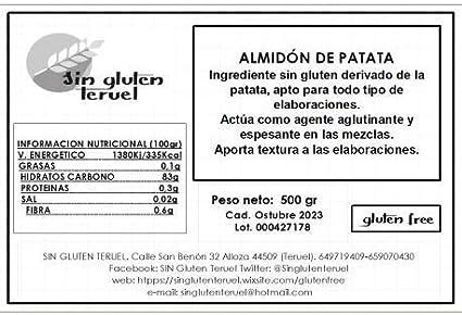Harina Almidón de patata - Harinas para Cocinar - Sin gluten ...