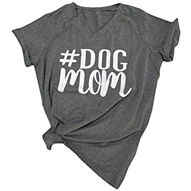 FAYALEQ Women V-Neck Dog Mom Letters Print Tops Funny T-Shirt Casual Short Sleeve Blouse Size X-Large (Gray)