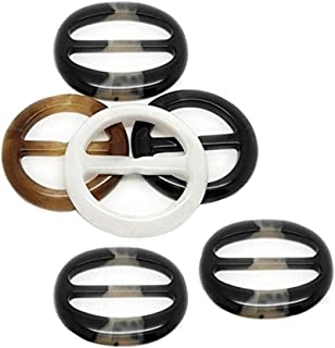 6PCS Diameter 2 Inch Resin Plastic Round Buckle Button for Waist Buckle Silk Scarves Neckerchief Clothing T-Shirt Knotting Clasp Ring for Women Lady Girls Color Random