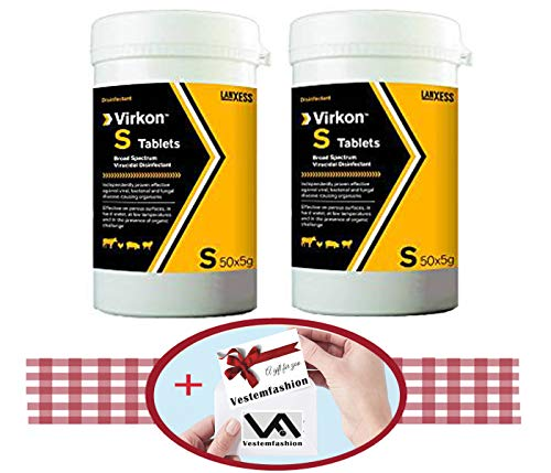 Virkon S Tablets 50 x 5g (2 Boxes Total of 100 Tablets),And 1 Small Gift from Vestemfashion Team