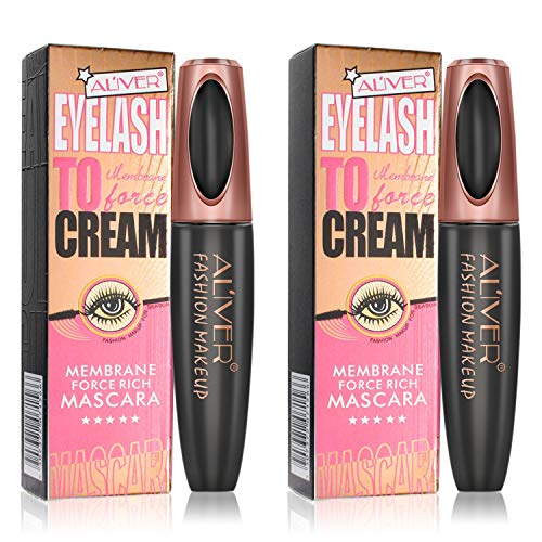 2 Pack 4D Silk Fiber Eyelash Mascara, Extra Long Thick & Voluminous Lash Mascara, Black Long-Lasting Waterproof 4D Mascara