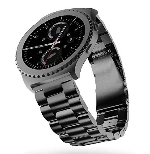 SUNDAREE Kompatibel mit Gear S2 Classic Armband,20MM Edelstahl Metall Armband Ersatz Watch Strap Uhrenarmband für Samsung Gear S2 Classic SM-R732/Garmin vivoactive 3/Withings HR 40mm(Black Steel)