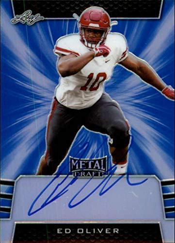 2019 Leaf Metal Draft Autograph Blue Football #BA-EO1 Ed Oliver Auto SER35 Bills ON CARD Rookie RC AUTO Licensed Trading Card