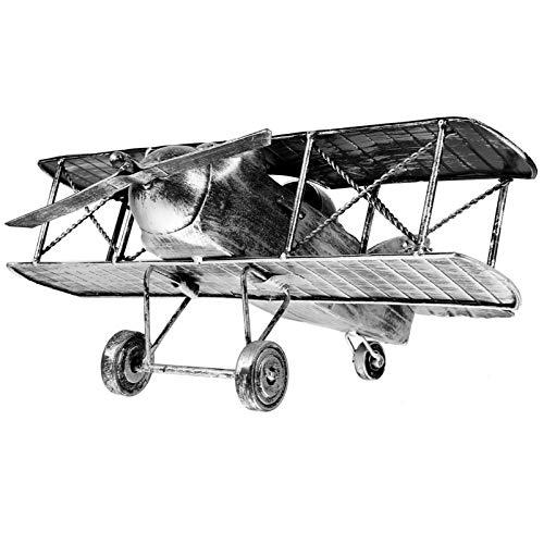 non-branded Avión de Hierro Retro Vintage Modelo de Avión Biplano de Metal Adornos Decorativos de Avión de Hojalata para Accesorios Fotográficos Niños (Plata)