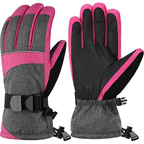 Andake 3M Thinsulate Warm Winddicht Wasserdicht rutschfest Atmungsaktiv Handschuhe Damen Frauen Mädchen Skihandschuhe Winterhandschuhe Skifahren Eislaufen Snowboard Radfahren Wintersport Outdoor