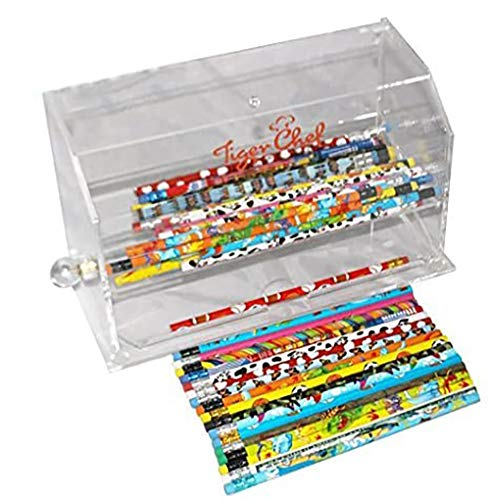 Tiger Chef Clear Acrylic Straw Dispenser 12.4 x 5.5 x 7.1 Inch includes 50 Assorted Designs #2 Lead Pencils Pencil Dispenser Plastic Straw Holder Straw Container BPA Free