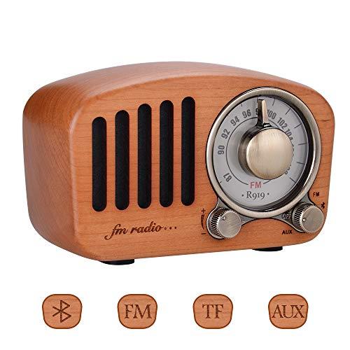 Handgefertigtes Mahagoni Tragbares Radio FM mit Bluetooth 4.2 Drahtloser Lautsprecher 3,5 mm Audio Eingangsbuchse und TF Karten Ports und 5W Stereo Sound