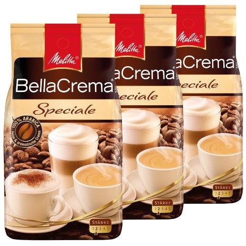Melitta Kaffee BellaCrema Speciale ganze Bohne, milde Kaffeebohnen, 3er Pack, 3 x 1000g