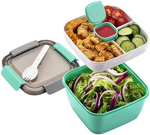 Bento Box Contenedor de Ensalada Fiambreras con 3 Compartimentos y Aperitivos, ensaladera con contenedor de Vendaje Fiambreras Caja de Almuerzo Ideal para Microondas (Verde)