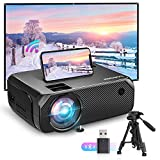 Bomaker Mini Beamer WiFi, 6000 Heimkino Beamer, Native 720P Full HD 300' Display, 60000 Stunden, kompatibel mit TV Stick, PS4, HDMI, SD, AV, X-Box, iOS/Android Smartphone Beamer mit Tragetasche