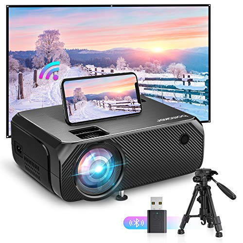 """Bomaker Proyector WiFi, Proyectores Soporte Full HD 1080P 6000 LM Portátil, Nativa 720P Video Proyector Inalámbrico Mini Cine en Casa, Zoom X/Y, 300\""""/HDMI/iPhone/Android/TV Stick/PS4/Laptop, GC355"""