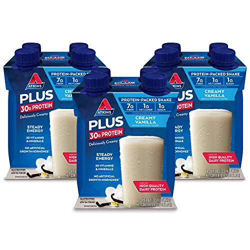 Atkins PLUS Protein-Packed Shake. Creamy Vanilla with 30 Grams of High-Quality Protein. Keto-Friendly and Gluten Free. (12 Shakes)
