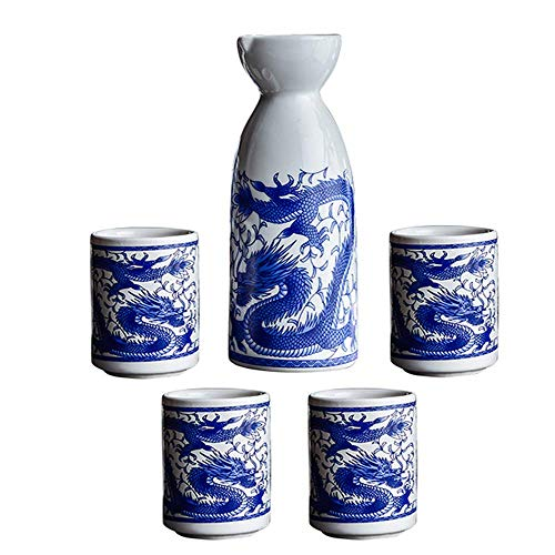 AABBC 5 Piece Sake Set, Ceramic Wine Glass Set, Ssangyong Pattern Design Crafts Cups, for Cold/Warm/Shochu/Tea, Best Gift for Family and Friends
