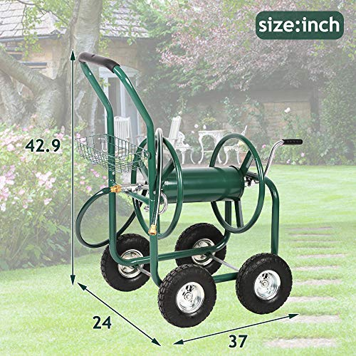 Garden Hose Reel Cart Outdoor Water Hose Heavy Duty Holder Yard Carts with Wheels, Holds 300-Feet of 5/8-Inch Hose, Yard Water Planting 4 Wheels Outdoor Garden Lawn Water Truck with Storage Basket