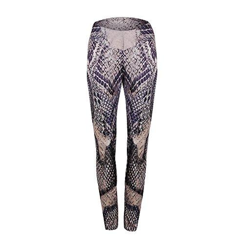 YWLINK Damen Sporthalle Yoga Training Mid Waist Laufhose Fitness Schlange Drucken Elastische Leggings(XL,Kaffee)