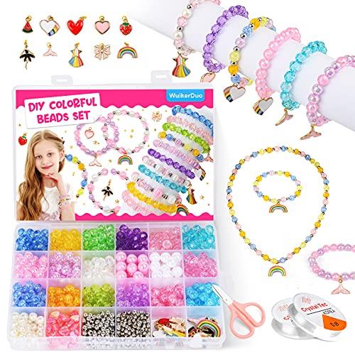 WuikerDuo Bracciali Bambina Ragazza Gioielli Kit,Perline Colorate dei Bambini Fare Gioielli Braccialetti Necklace Kit per Ragazze Braccialetto dell'amicizia Accessorio Moda Gioielli per Bambini