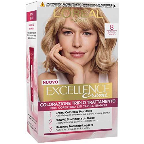 L'Oréal Paris Excellence Crema Colorante Triplo Trattamento Avanzato, 8 Biondo Chiaro, 1 Pacco