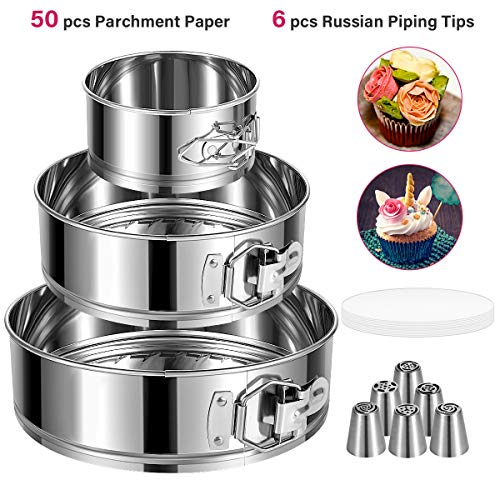 E-Gtong Springform Pan Set of 3 Stainless Steel Cake Pan 4' 7' 9' Leakproof Round Cheesecake Pan with Removable Bottom Bonus 50 Pcs Parchment Paper Liners and 6 Pcs Russian Piping Tips