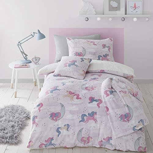 Catherine Lansfield Kids Unicorn Dreams Glow In The Dark Double Duvet Set Pink