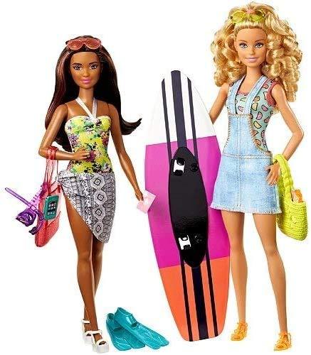 Mattel Barbie FNY92 Surfer Urlaub Set mit 2 Barbie-Puppen Pink Passport .