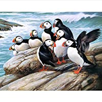 JXRDG フルスクエアドリルDIYダイヤモンド絵画ペンギン刺繡クロスステッチラインストーン家の装飾40x50cmフレームなし