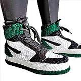 Hand-knitted Crochet Jordan Sneakers High-Quality New Style Slippers, Best Handmade Home Slippers, Custom inspired Green Jordan Shoes