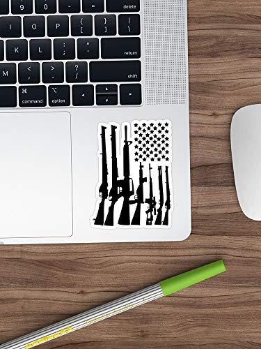 Grote Amerikaanse vlag met machinegeweren zwarte Sticker Vinylsticker voor auto's, vrachtwagens, waterfles, koelkast, laptops (langste kant 3