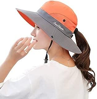 Women's Outdoor UV Protection Wide Brim Beach Fishing Hat (Orange)