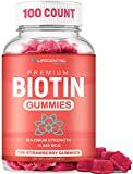 Biotin Gummies for Hair Growth - Max Strength Biotin 10000mcg Prevents Thinning & Loss | Chewable Biotin Supplement for Women Men & Kids | 100 Count Vegan Hair Gummies for Hair Skin and Nails