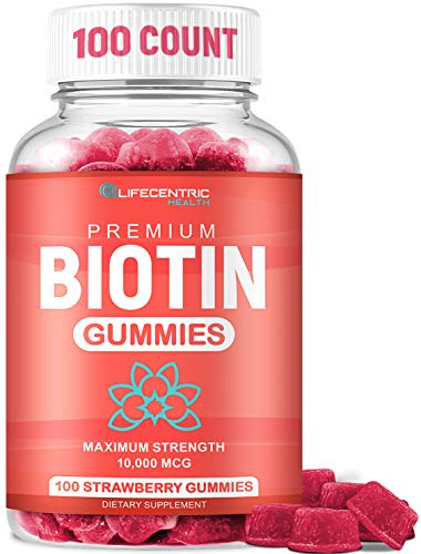 Biotin Gummies for Hair Growth | Max Strength Biotin 10000mcg Prevents Thinning and Loss | Chewable Biotin Supplement for Women Men and Kids | 100 Count Vegan Hair Gummies for Hair Skin and Nails