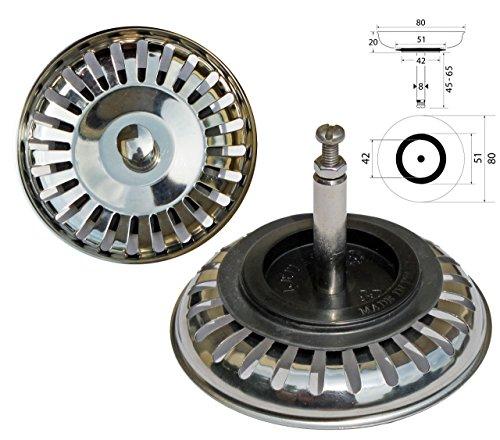 ProKIRA Universal Siebkörbchen 3,5 Zoll (Ø80mm), für Spülen mit Excenterbedienung/Edelstahl