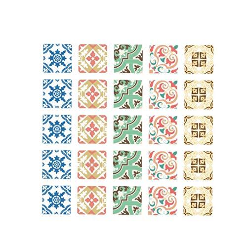 Heall Baldosas Decorativas Pegatinas Peel extraíble Impermeable Adhesivo de azulejo de Bricolaje para Entrepaños de Cocina Baño Pavimento Style-002 Multicolor índice Suministro