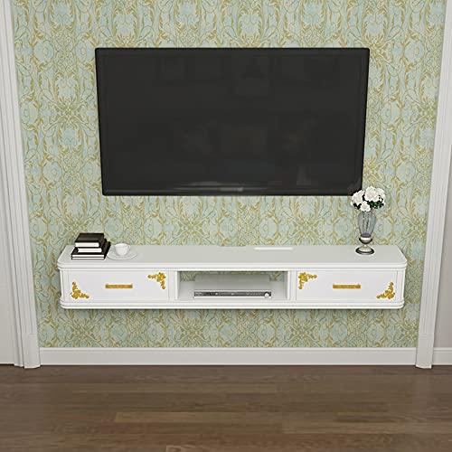 Mueble De TV Flotante, Consola Multimedia De Madera Maciza Con AdministracióN De Cables, Para Almacenar Consolas De Juegos Con Decodificador De Cable/White / 120cm