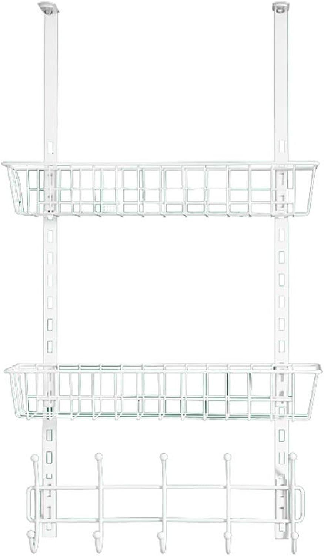Iron Coat Rack Over Door, Storage Rack Mounted with 5 Hooks and 2 Basket Behind The Door (White)