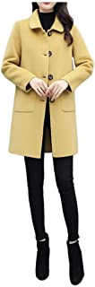 Howely Womens with Pockets Single Button Trench Coats Loose Lapel Peacoat