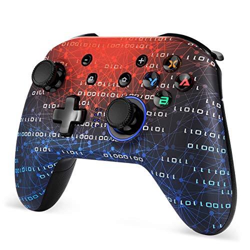 Controller switch EasySMX, controller per Nintendo Switch, controller Bluetooth wireless, controller a 6 assi Switch Pro con doppio motore integrato per Nintendo Switch Pro/Lite e PC, nero+rosso