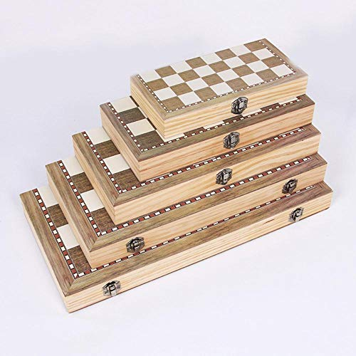 Mingi Juego de Tablero de ajedrez de Madera Plegable 3 en 1 Juegos de Viaje Damas de ajedrez Juguete Ajedrez Entretenimiento Juego de Mesa Juguetes de Regalo, 29x29 cm