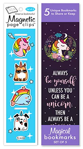 Re-marks Unicorn Magic Gift Set of 9 Bookmarks - 4 Magnetic Page Clips & 5 Quote Bookmarks
