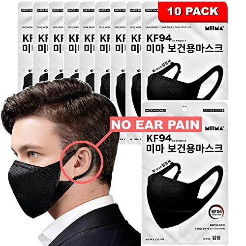[PACK OF 10] Happy Life Ltd, Co [MIIMA] Certified KF94 Black Korean Face Mask Disposable Comfortable & Breathable Face Mask, Dust Mask, Adult Face Masks Included Expandable Comfortable Ear Strap