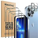Kiewhay Protector de Pantalla Compatible con iPhone 13 Pro Max Cristal Templado 6,7'', 3x Vidrio Templado +2x Protector de Lente de Cámara, HD Protector de Pantalla para iPhone 13 Pro Max - 5 Piezas