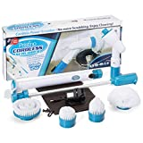Cordless Power Scrubber Brush Set – 4 Brush Heads Clean Any Surface – Storage Bag, Rechargeable, Extendable Handle – Lasts Up To 2Hours Washes Bathroom, Kitchen, Patio, Oven Scrub & Flooring with Ease