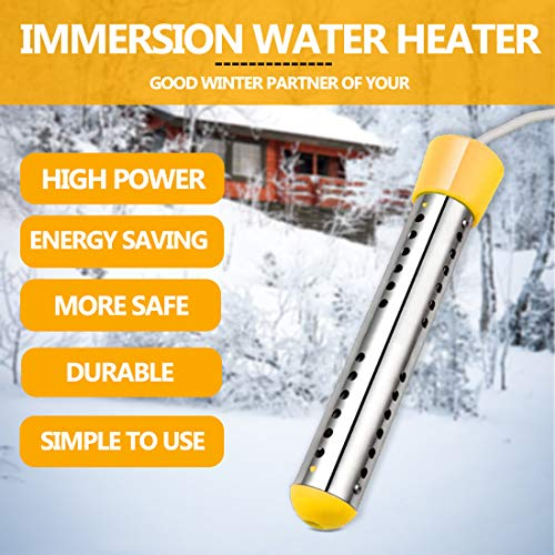 Immersion Water Heater, 1500W Electric Water Heater with Stainless Steel Protective Cover, Submersible Instant Hot Water Heater for Pool, Bucket, Portable Bathtub, Basin, Winter Washing