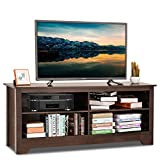 Tangkula TV Stand, Modern Wood Large Wide Entertainment Center for TV up to 60', Living Room Media Console Stand with 4 Open Storage Shelves, Brown