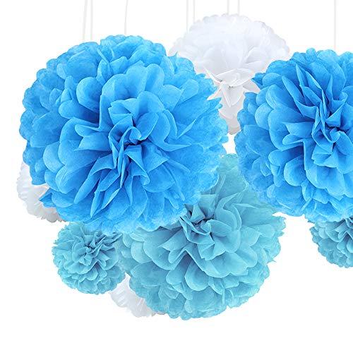 JaneYi 21 Stück Bunt Seidenpapier Pompons Blumen Papier Pompoms Papierblumen Dekorpapier Kit 4 Größen für Hochzeit Geburtstag Party Kindertaufe Hauptdekorationen Tischdeko - Blau Hellblau und Weiß