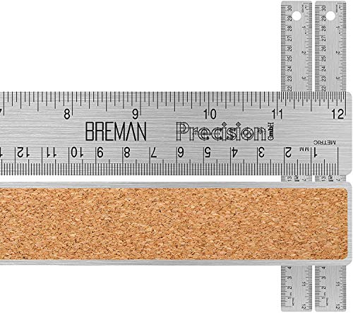 Breman Precision Stainless Steel 12 inch Metal Rulers 2 Pack - Straight Edge Rulers with Inch and Metric Graduations for School Office Engineering Woodworking - Flexible with Non Slip Cork Base