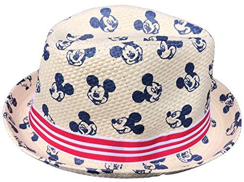 Mickey Mouse Strohhut Havanna Hut Sommerhut Strandhut Gr.52 und 54 blau und rot (rot, 52)