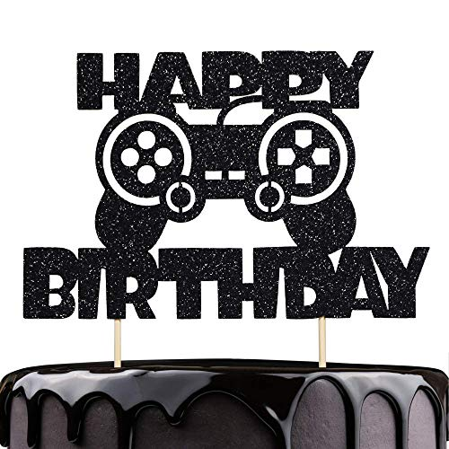 Artczlay Video Game Theme Happy Birthday Cake Topper Black Glitter Cake Topper Suitable for game theme party cake decoration