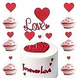 LOPOTIN 25pcs Tarjeta Tarta del Día San Valentín, Decoración de Torta Boda, Cake Topper Boda Corazón para Pedir la Mano, Tarta de Boda, Aniversarios de Casarse, Novios Enamorado, Marido y Esposa.